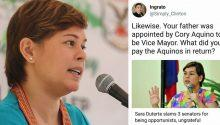 Sara Duterte responds to troll bringing up Dad's appointment by Cory